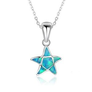 Sterling Silver Opal Starfish Necklace